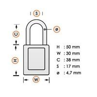 Nylon compact veiligheidshangslot grijs 814143
