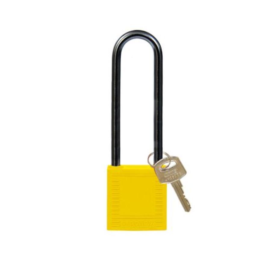 Nylon compact veiligheidshangslot geel 814147