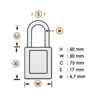Nylon compact veiligheidshangslot wit 814152