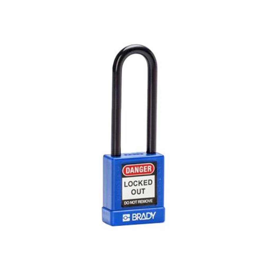 Aluminium veiligheidshangslot met kunststof cover blauw 834474