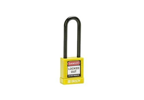 Aluminium veiligheidshangslot met kunststof cover geel 834477