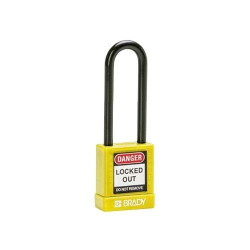 Aluminium Sicherheits-vorhängeschloss mit Kunstoffabdeckung gelb 834477