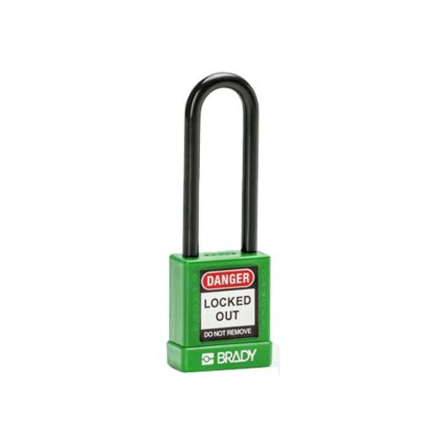 Aluminum safety padlock with composite cover green 834478