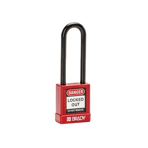 Aluminum safety padlock with composite cover red 834476