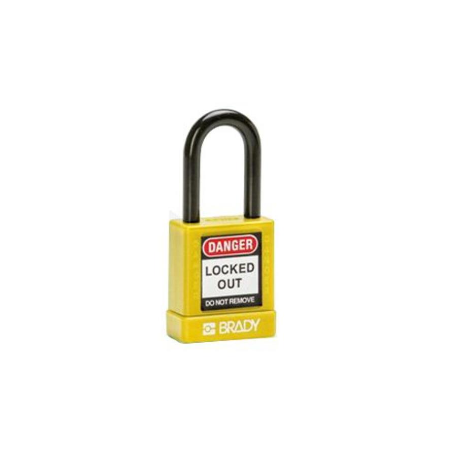 Aluminium Sicherheits-vorhängeschloss mit Kunstoffabdeckung gelb 834471