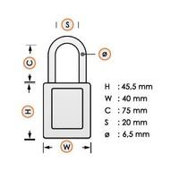 Aluminium veiligheidshangslot met kusntstof cover oranje 834479