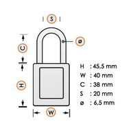 Aluminum safety padlock with composite cover orange 834473