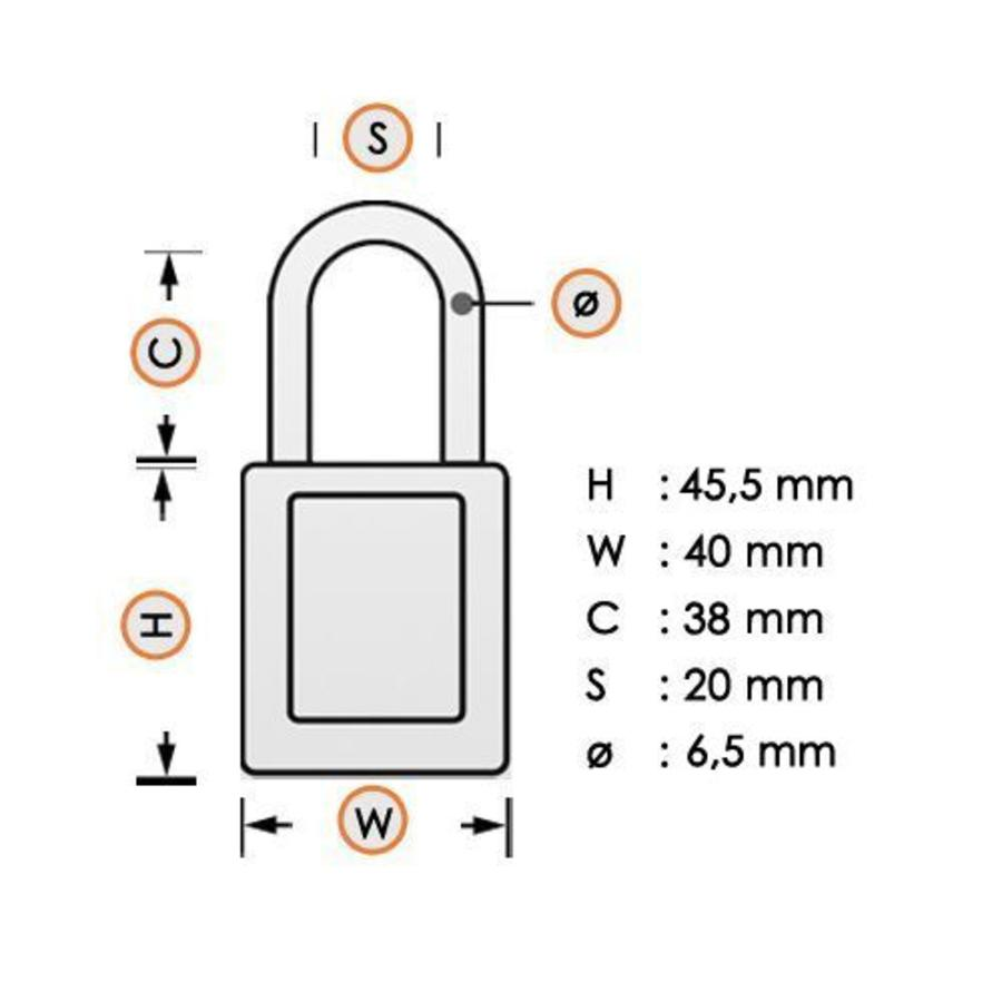 Aluminum safety padlock with composite cover green 834472