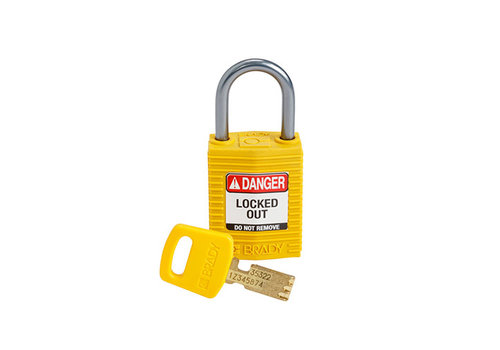 SafeKey Compact nylon safety padlock aluminium shackle yellow 152156