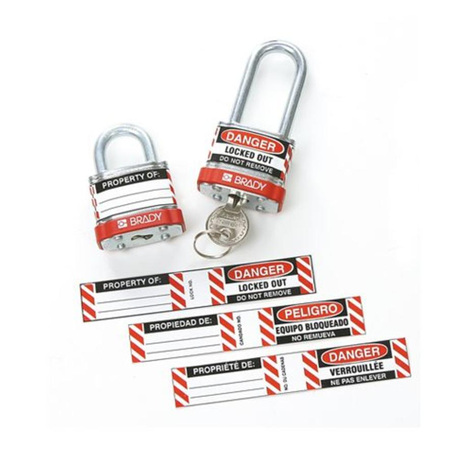 Etiketten für Stahlvorhängeschlösser