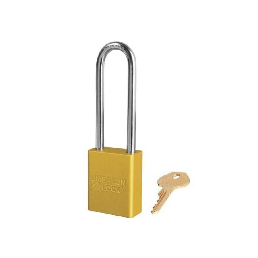 Anodized aluminium safety padlock yellow S1107YLW