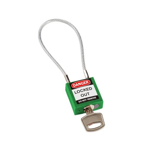 Nylon safety padlock green with cable 146123