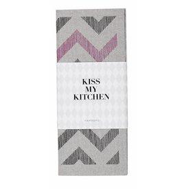 KISS MY KITCHEN Schwammtuch Zickzack grau/schwarz und pink