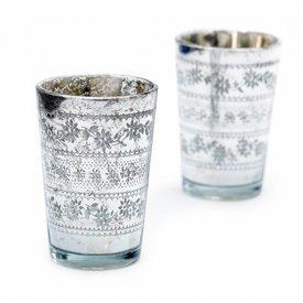 Nordal Teelichthalter 2er Set silbern aus Glas