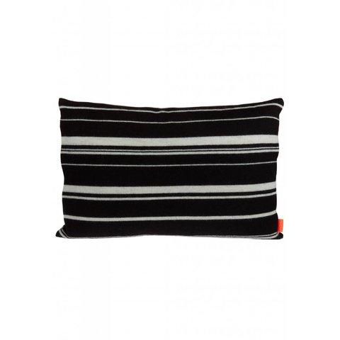 Streifenkissen schwarz aus Wolle