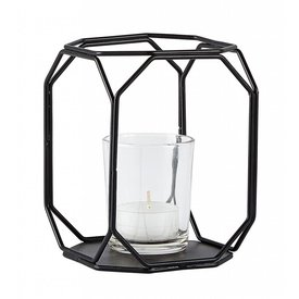 KJ Collection Windlicht schwarz aus Metall und Glas