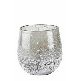 KJ Collection Windlicht grau aus Glas