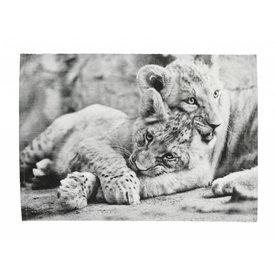 Cozy living Tischset Löwenjungen schwarz/weiß aus Baumwolle