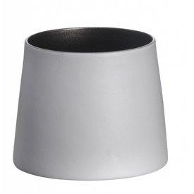 Madam Stoltz Teelicht weiß/dunkelsilber aus Porzellan