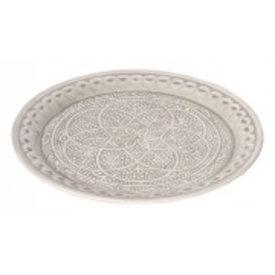 Blossom Tablett grau verziert aus Metall