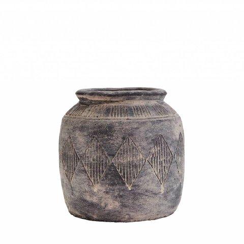 Vase grau/ beige aus Zement