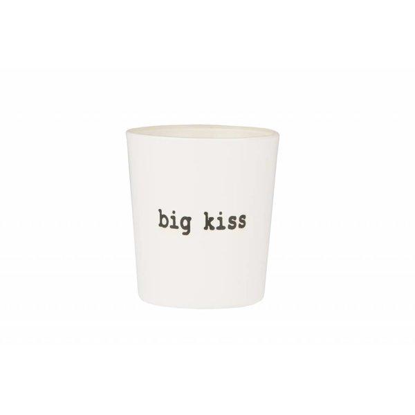 """SERAX Teelichthalter """"big kiss"""" naturweiß/schwarz aus Glas"""
