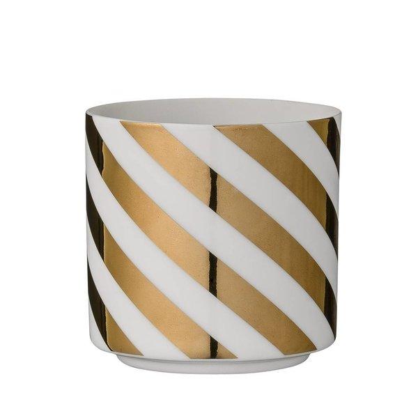 Bloomingville Porzellanwindlicht weiß mit goldenen Streifen