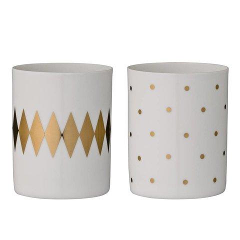 Teelichthalter 2er Set weiß/gold
