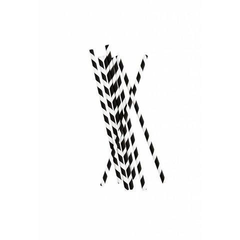 Strohhalme schwarz / weiß gestreift aus Papier