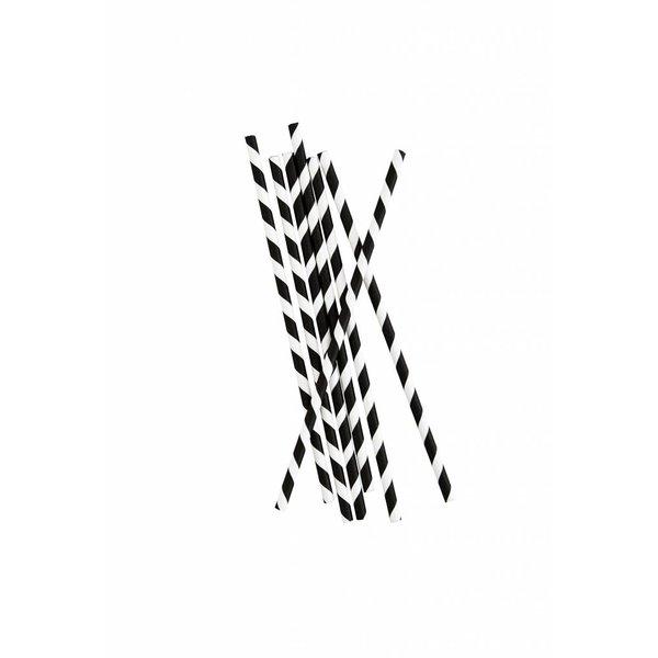 Madam Stoltz Strohhalme schwarz / weiß gestreift aus Papier