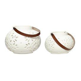 Hübsch Interior Laterne 2er Set weiß aus Keramik mit Lederhenkel