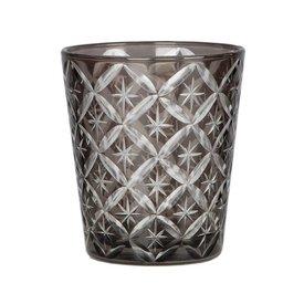 Blossom Windlicht / Glas grau verziert