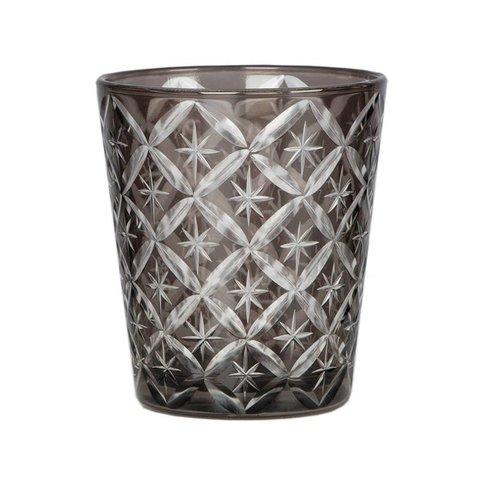 Windlicht / Glas grau verziert