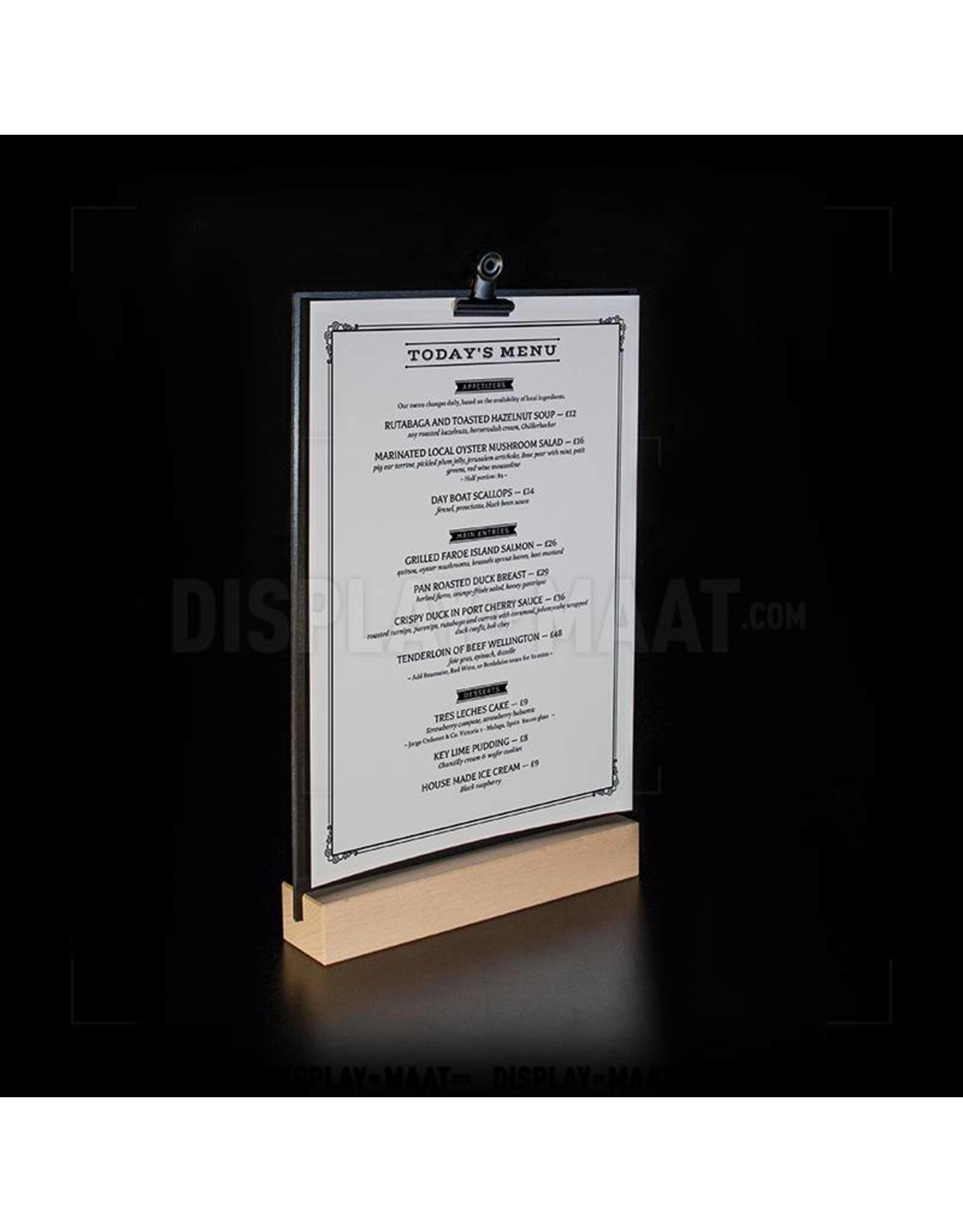 Zwarte menustandaard op luxe houten voet, inclusief clip