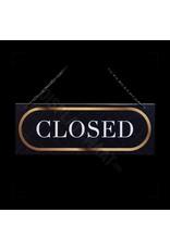 Open/closed bordje, zwart met gouden uitstraling