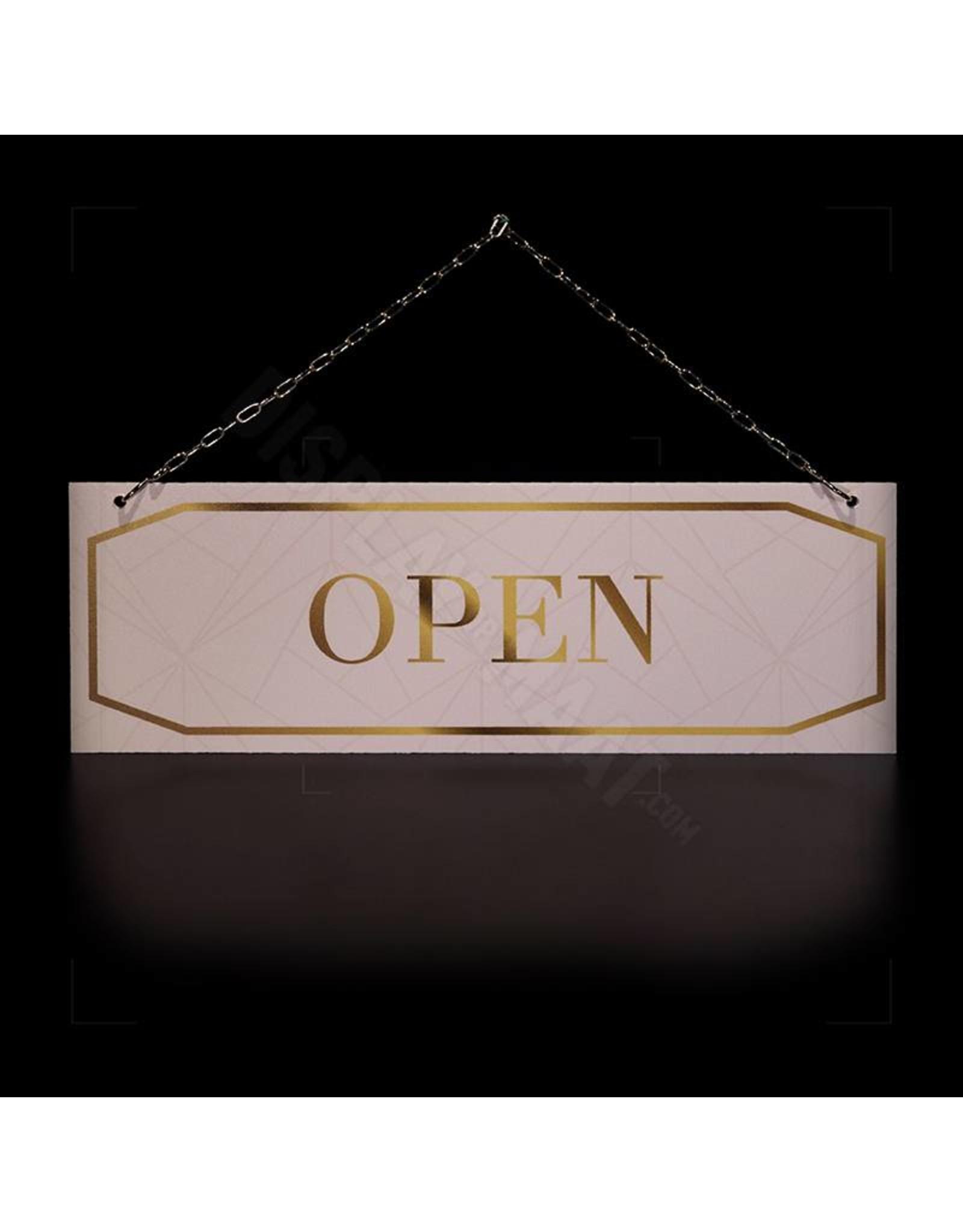 Open/closed bordje licht roze,  met gouden uitstraling
