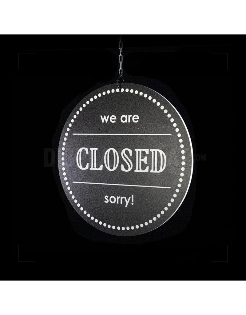 Open/Closed bordje - Rond zwart