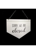 Open/Closed bordje - Driehoek wit