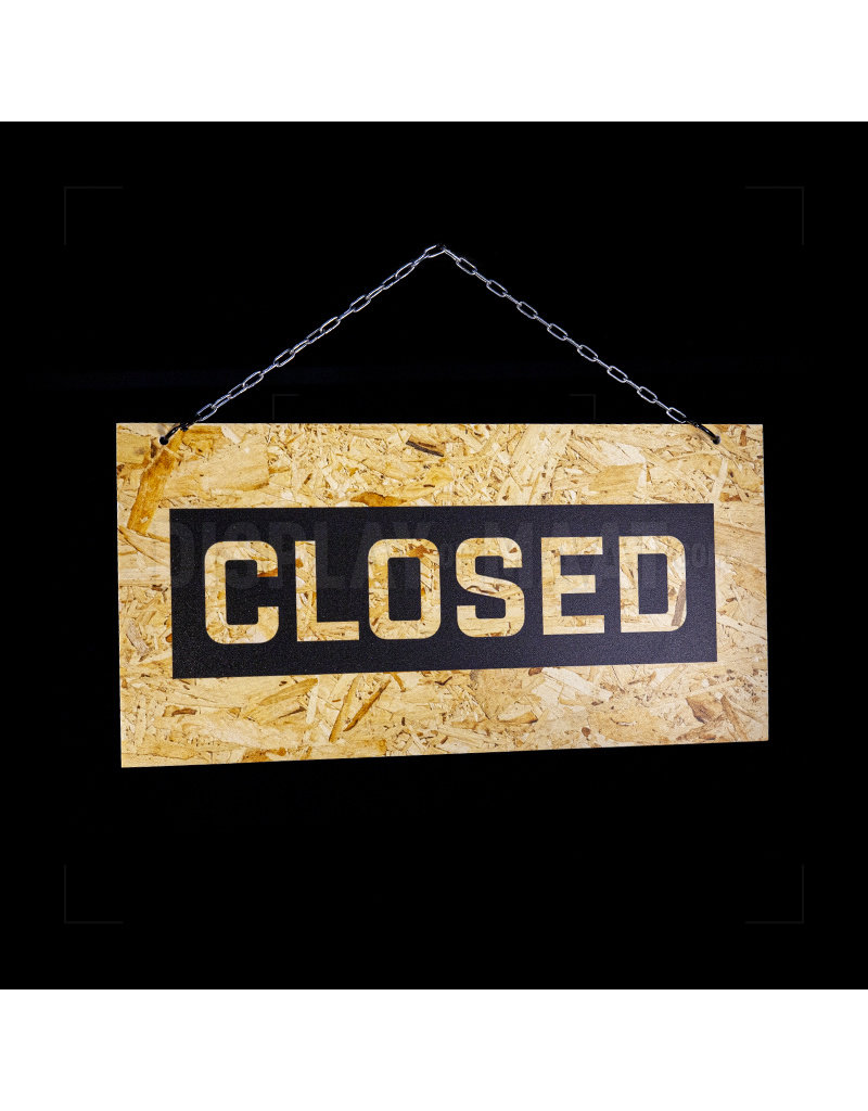 Open/Closed bordje - Spaanplaat look