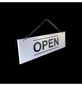 Open/gesloten bordje wit met zwarte strepen