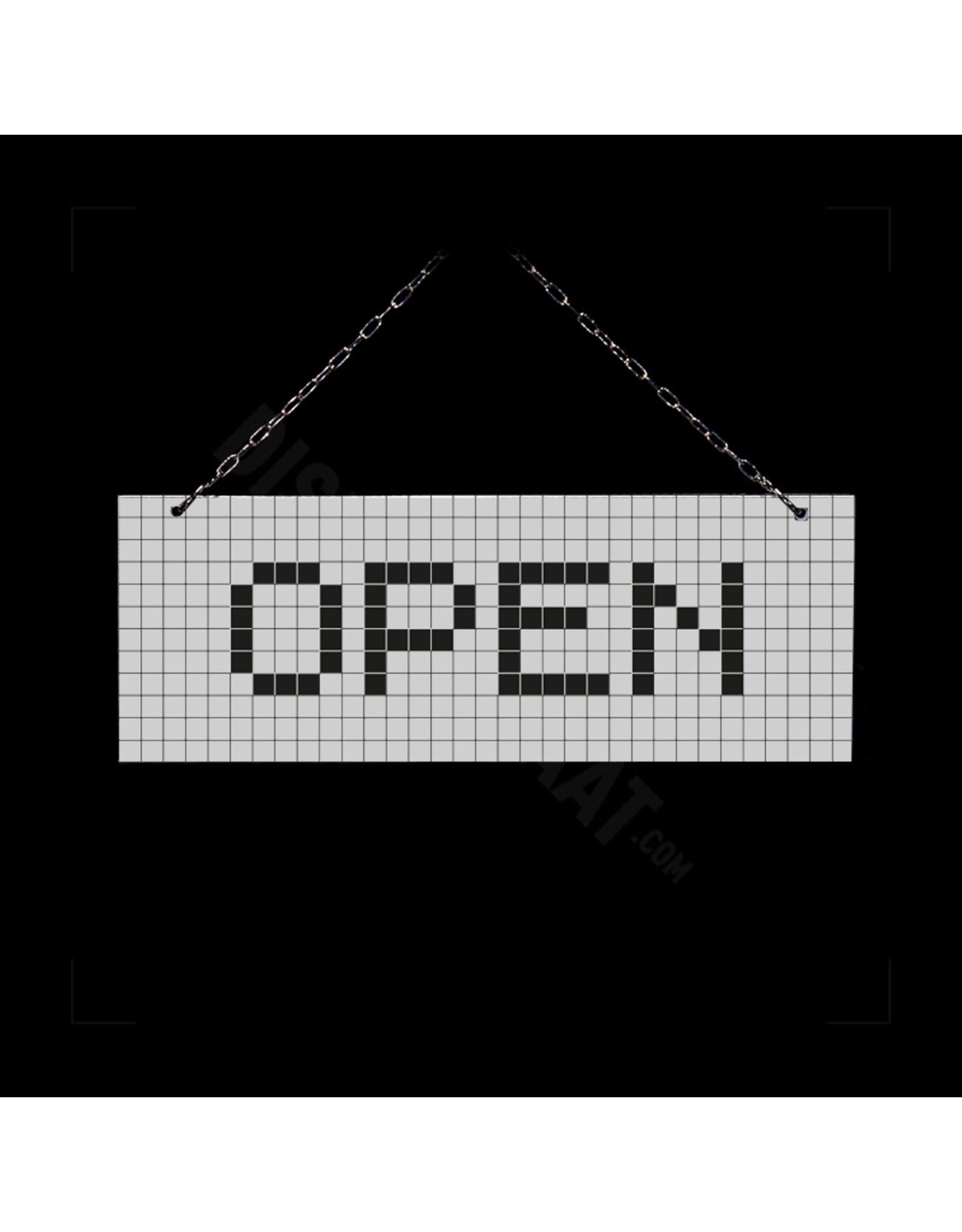 Open/gesloten bordje wit geblokt