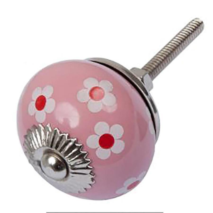 Porseleinen meubelknop roze wit rode bloemetjes