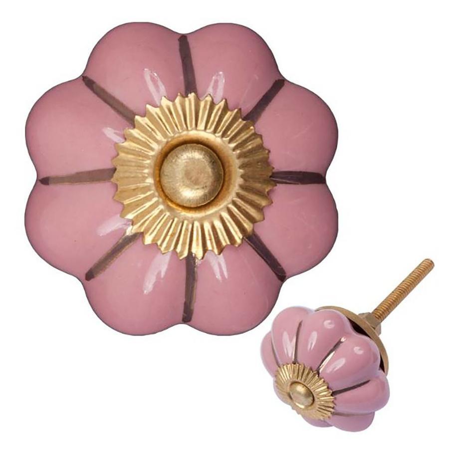 Porseleinen meubelknop 40 mm roze goud bloem