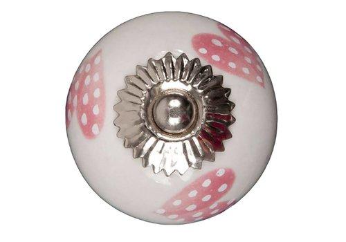 Meubelknop wit roze gestippelde hartjes - licht