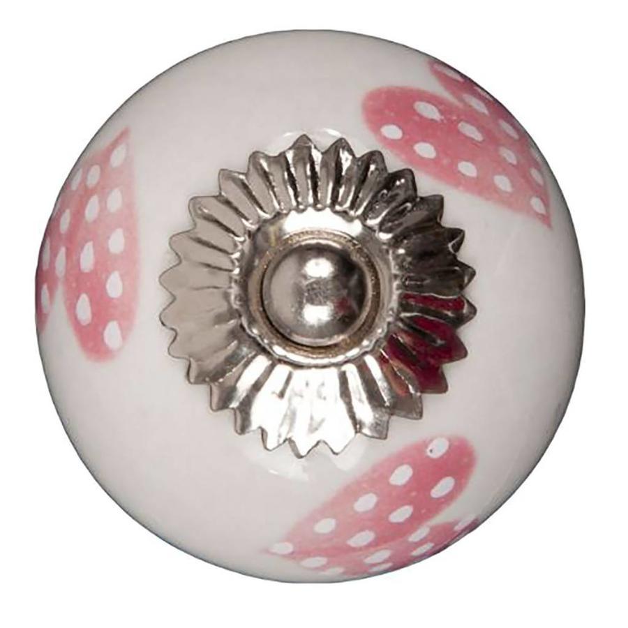 Porseleinen meubelknop wit roze gestippelde hartjes - licht