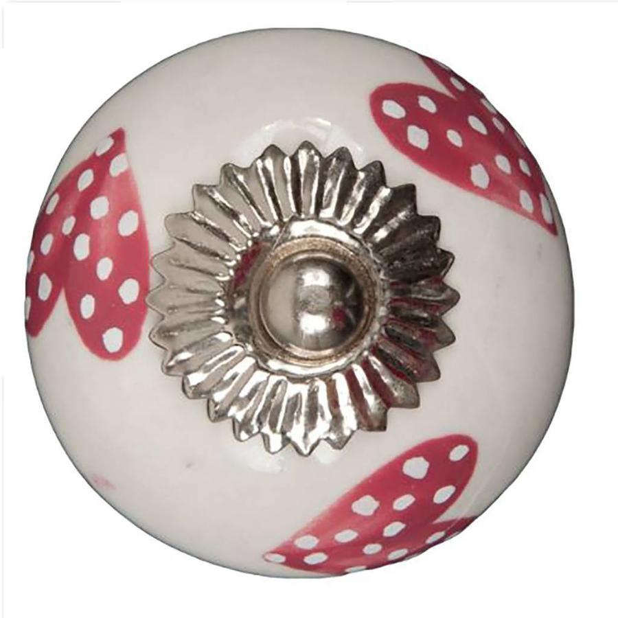 Porseleinen meubelknop wit roze gestippelde hartjes - donker