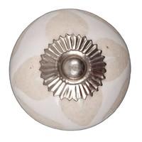 Porseleinen meubelknop wit met beige hartjes