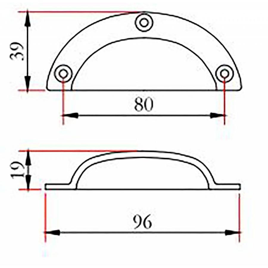 Gietijzeren komgreep blank KG0901 - 96mm