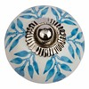 Meubelknop 40mm wit blauw blaadjes