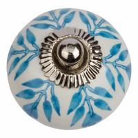Porseleinen meubelknop wit met blauw blaadjes